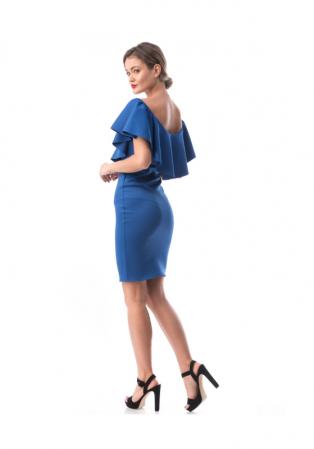 Rochie conica albastra cu volan supradimensionat - R619-2 [2]