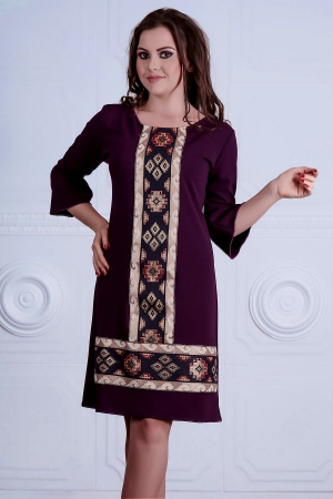Rochie cu broderie traditionala si maneca trei sferturi - Raisa Mov0