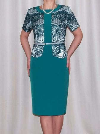 Rochie cu maneca trei sferturi si curea - Casiana Turcoaz0