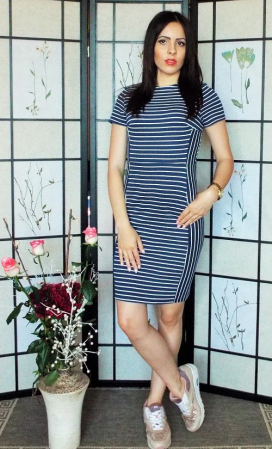 Rochie dama casual in dungi-Navy dress2