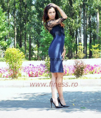 Rochie dama stofa si dantela-Magdalena1