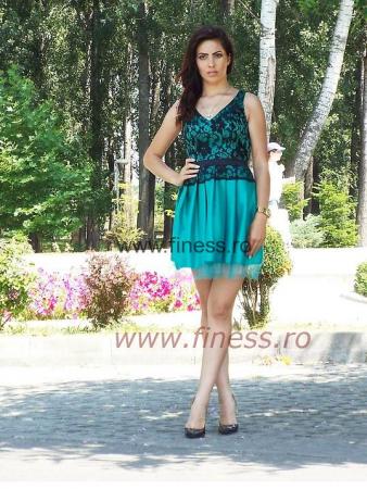 Rochie dama verde cu dantela neagra - EDA3