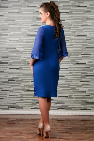 Rochie de seara cu insertii din broderie paietata - Cezara Albastru1