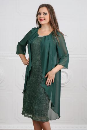 Rochie de seara verde din lame plisat si voal cu accesoriu - Lorena Verde0