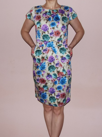 Rochie de vara bej cu imprimeu floral multicolor - Timeea1