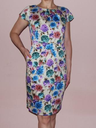 Rochie de vara bej cu imprimeu floral multicolor - Timeea0