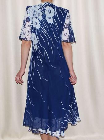 Rochie de vara din voal cu brosa detasabila - Victoria Albastru1