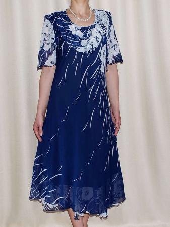 Rochie de vara din voal cu brosa detasabila - Victoria Albastru0