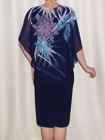 Rochie de vara din voal si vascoza elastica - Talia Bleumarin1