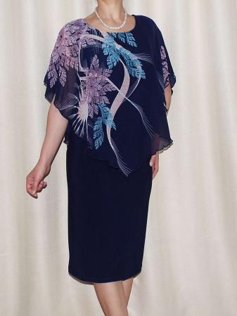 Rochie de vara din voal si vascoza elastica - Talia Bleumarin0