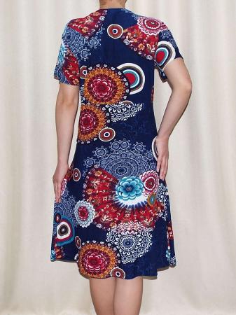 Rochie de zi bleumarin cu imprimeu floral maxi - Miriam 32