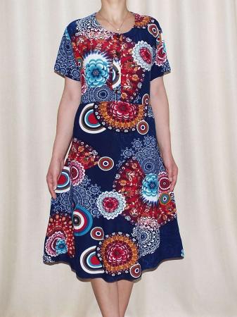 Rochie de zi bleumarin cu imprimeu floral maxi - Miriam 31