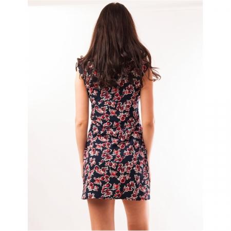 Rochie de zi bleumarin cu imprimeu floral - RZ0011