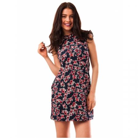 Rochie de zi bleumarin cu imprimeu floral - RZ0010