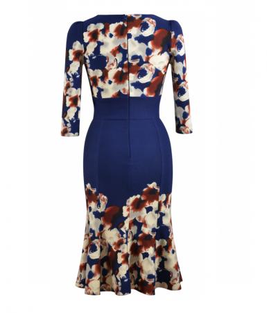 Rochie de zi cu clini si imprimeu floral - Georgiana Bleumarin2