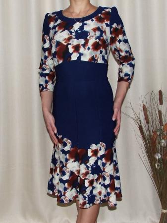 Rochie de zi cu clini si imprimeu floral - Georgiana Bleumarin0