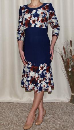 Rochie de zi cu clini si imprimeu floral - Georgiana Bleumarin1