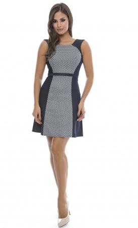 Rochie de zi cu imprimeu alb-bleumarin - R5230