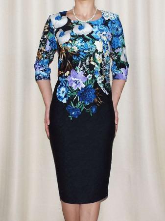 Rochie de zi cu imprimeu floral multicolor - Medana Albastru0
