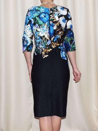 Rochie de zi cu imprimeu floral multicolor - Medana Albastru1