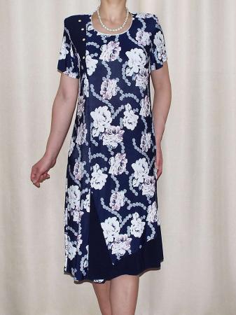 Rochie de zi cu imprimeu floral si maneca scurta - Malvina0