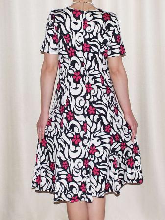 Rochie de zi cu imprimeu floral si maneca scurta - Vera Roz1