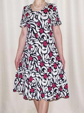 Rochie de zi cu imprimeu floral si maneca scurta - Vera Roz0