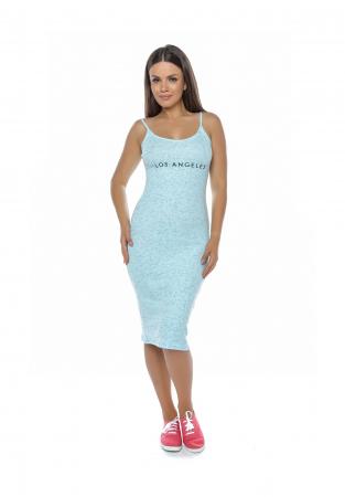 Rochie de zi din bumbac albastru cu bretele - R6292A0