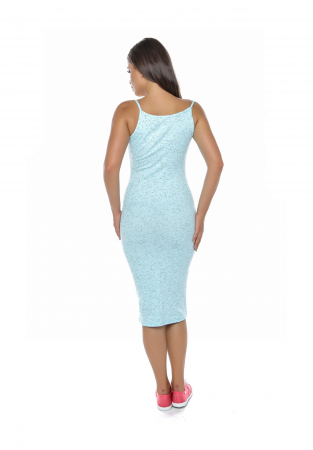 Rochie de zi din bumbac albastru cu bretele - R6292A1