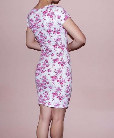 Rochie de zi din bumbac cu imprimeu floral - RT0061