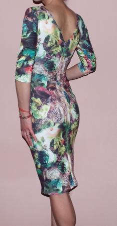 Rochie de zi din jerse cu imprimeu - R262 Multicolor 32