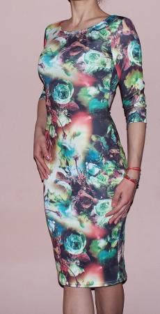 Rochie de zi din jerse cu imprimeu - R262 Multicolor 31