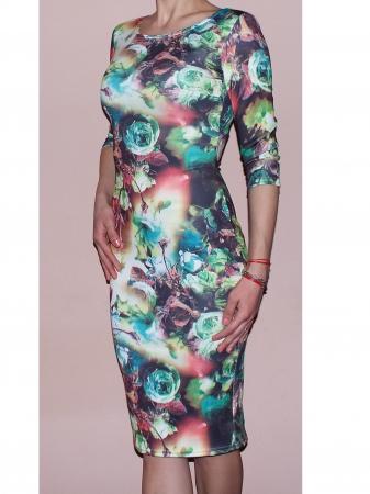 Rochie de zi din jerse cu imprimeu - R262 Multicolor 30