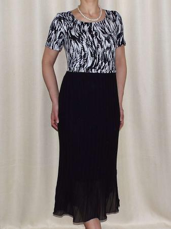 Rochie de zi din jerse imprimat si voal plisat - Fiona0
