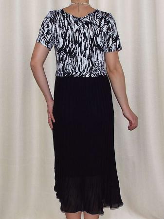 Rochie de zi din jerse imprimat si voal plisat - Fiona1