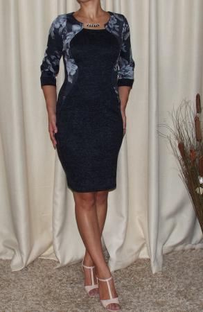 Rochie de zi din tricot cu maneca trei sferturi - Lorena Gri Inchis [1]