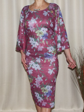 Rochie de zi tricotata cu imprimeu floral - Carla Grena [0]