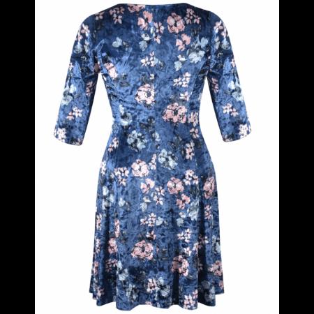 Rochie din catifea cu imprimeu si colier - Dalia Bleumarin3