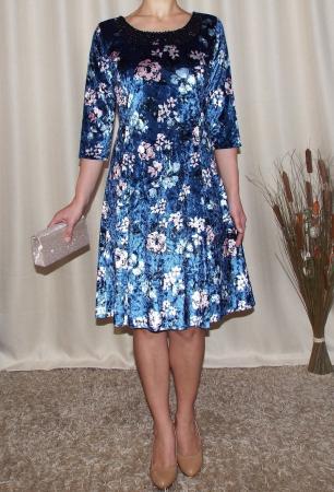Rochie din catifea cu imprimeu si colier - Dalia Bleumarin1