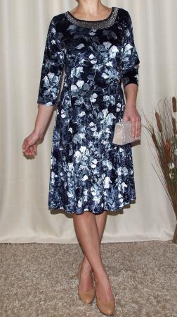 Rochie din catifea cu imprimeu si maneca trei sferturi - Dalia Floral0