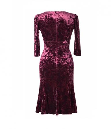 Rochie din catifea cu maneca trei sferturi - Margot Visiniu [1]