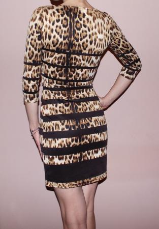 Rochie din jerse cu animal print si maneca trei sferturi - Print011