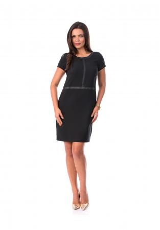 Rochie din jerse cu insertii din piele ecologica si buzunare - R6730