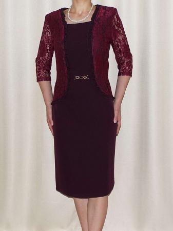 Rochie din stofa si dantela cu accesoriu in talie - Anabela Bordo [0]