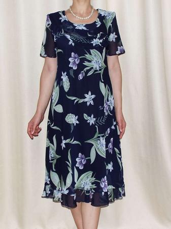 Rochie din voal bleumarin cu imprimeu floral - Alexandra 4 [0]