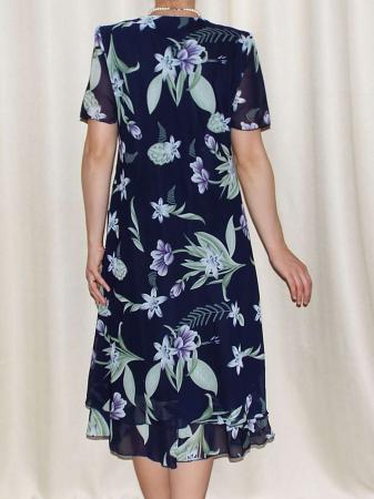Rochie din voal bleumarin cu imprimeu floral - Alexandra 4 [1]