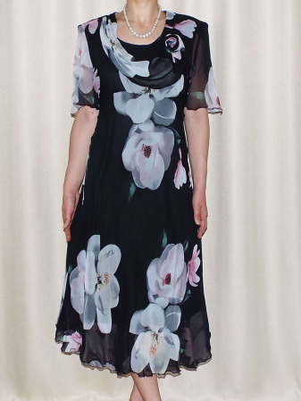 Rochie din voal cu imprimeu floral maxi si brosa - Victoria 10
