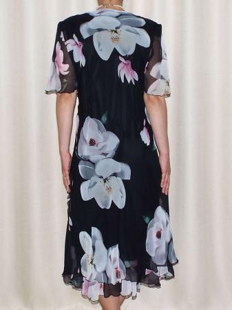 Rochie din voal cu imprimeu floral maxi si brosa - Victoria 11