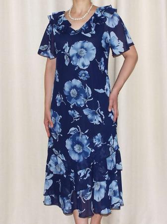 Rochie din voal cu imprimeu floral si maneca scurta - Verona Bleumarin [0]