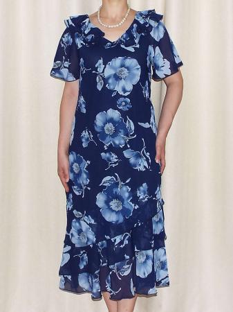 Rochie din voal cu imprimeu floral si maneca scurta - Verona Bleumarin [1]